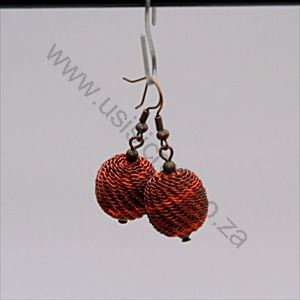 Picture of us1273 Earring - Woven Copper Bead