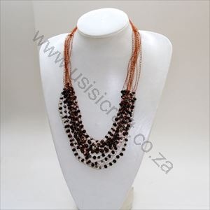 Picture of us881 Necklace-Crochet Copper & Beads-10 strings