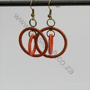 Picture of us1271 Earrings - Copper wrapped double rings-short