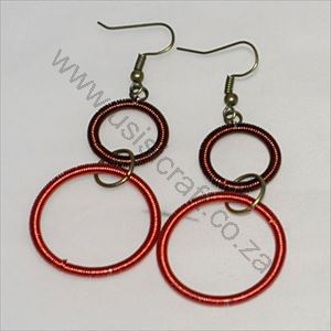 Picture of us1272 Earrings - Copper double ring long